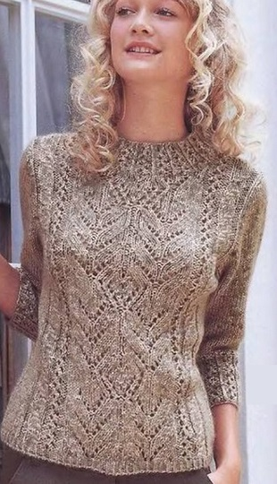 Knitted Pullover Pattern in Lace ~ Lace Knitting Stitch