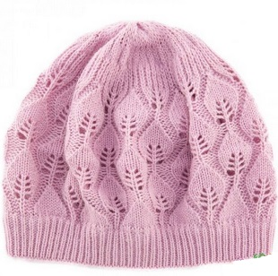 Free Knitting Pattern Lace Beanie : Pink Leaf Beanie Knitting Pattern ~ Lace Knitting Stitch