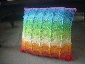 rainbow lace pillow